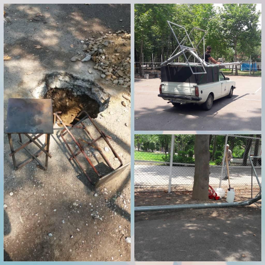 روند آماده سازی زمین بسکتبال خیابانی توسط سازمان فرهنگی اجتماعی و ورزشی شهرداری رشت در پارک قدس رشت